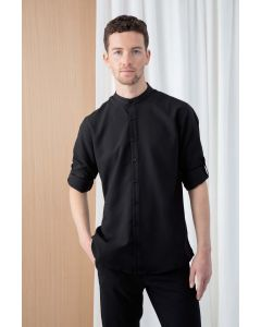 Mens Mandarin Shirt with Roll-tab Sleeve